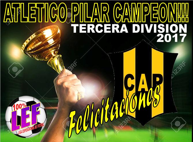 Atlético Pilar Campeón en tercera división.